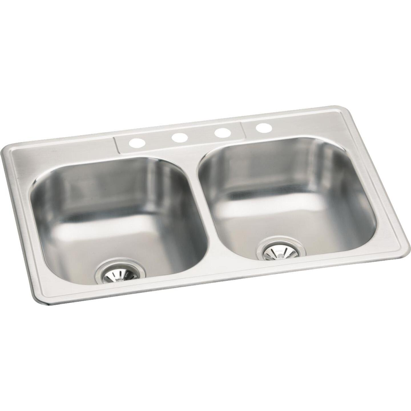 Elkay Double Bowl 33 In. x 22 In. Stainless Steel Kitchen Sink Image 1